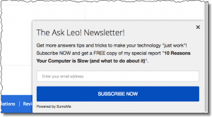Ask Leo! Newsletter Slide-Up